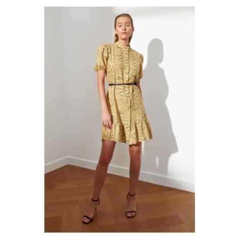 Trendyol Mustard Belt Patterned Dress