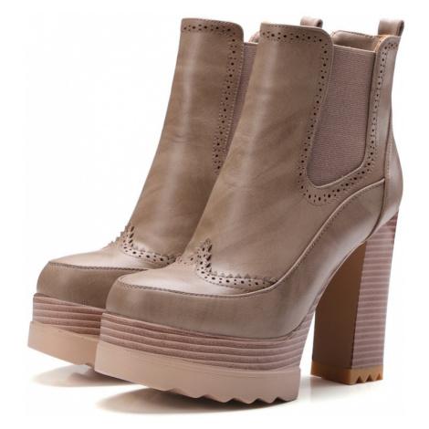 Elegantní kožené polokozačky kotníkové boty na vysokém podpatku