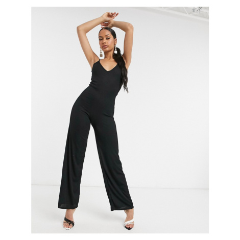 I Saw It First ribbed wide leg jumpsuit in black