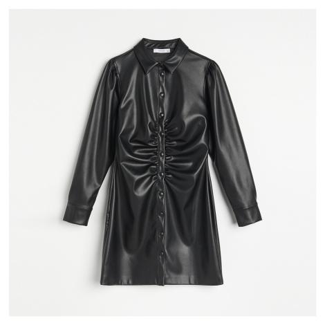 Reserved - Koženkové košilové šaty - Černý