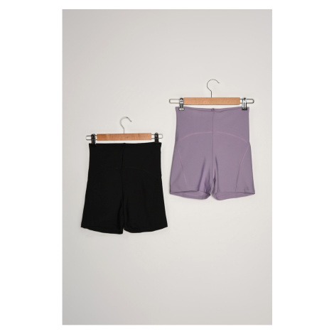 Trendyol Black-Lilac Knit Shorts & Bermuda
