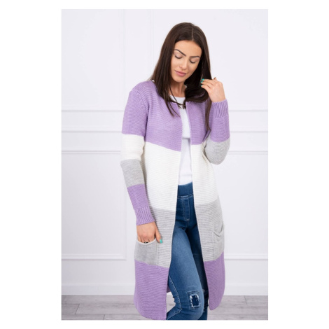 Sweater Cardigan in the straps purple+ecru Kesi
