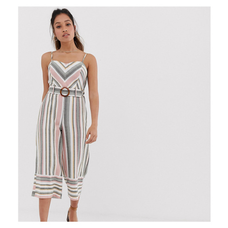 Miss Selfridge Petite linen look jumpsuit in chevron stripe-Multi