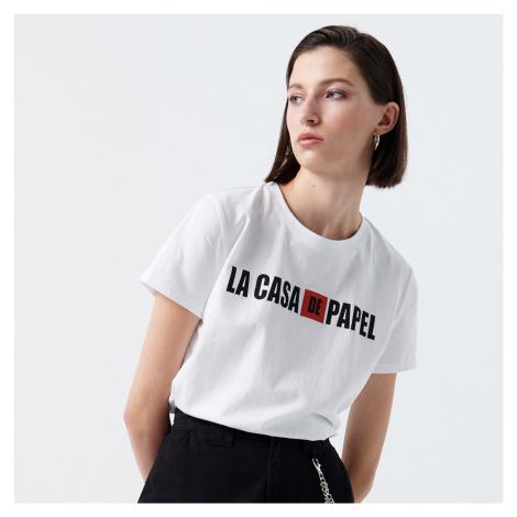 Cropp - Tričko s nápisem La casa de papel - Bílá