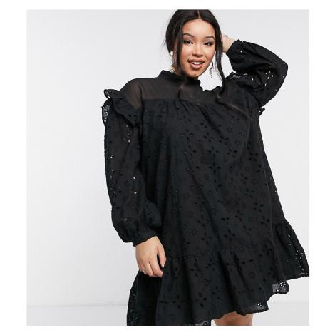 Lola May Curve smock dress in black