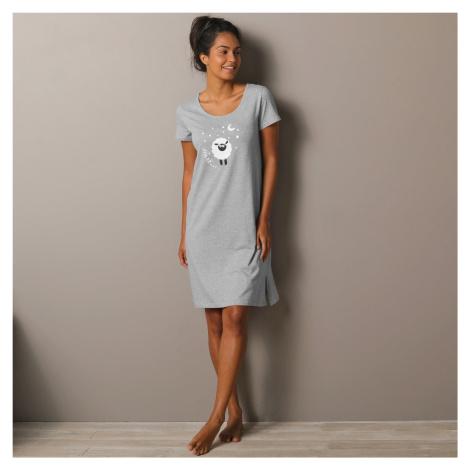 Blancheporte Noční košile s krátkými rukávy s potiskem ovečky šedý melír