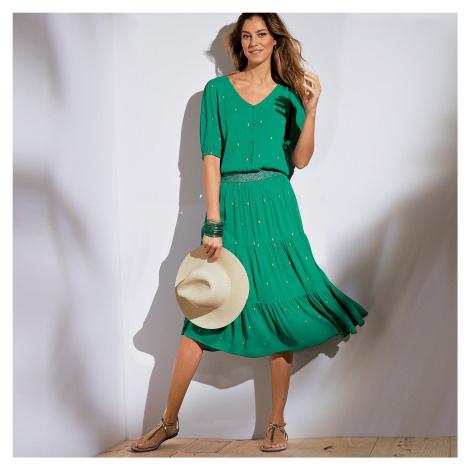 Blancheporte Krátká sukně se zlatým potiskem zelená/zlatá