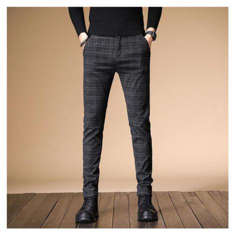 Pánské kostkované kalhoty šedé úzke