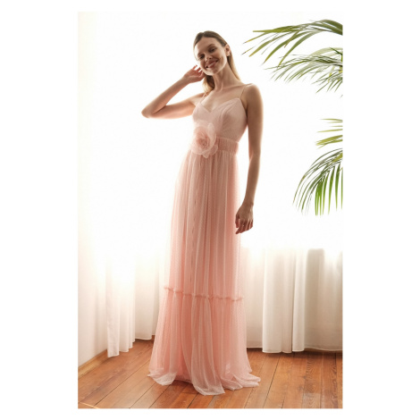 Trendyol Powder Accessory Detailed Points Tulle Evening Dress & Graduation Dress