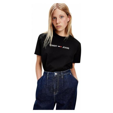 Tommy Hilfiger Tommy Jeans dámské černé tričko ORGANIC COTTON LOGO T-SHIRT