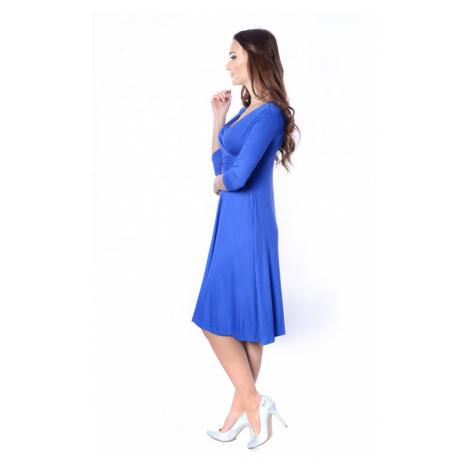 Delší vycházkové šaty s tříčtvrtečním rukávem barva modrá Oxyd