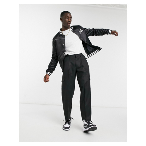 ASOS DESIGN cargo oversized tapered smart trousers in black