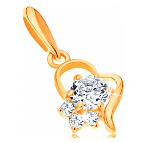 Zlatý přívěsek 585 - kontura nepravidelného srdce s čirými zirkony