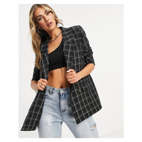 Unique21 boxy blazer in check-Multi