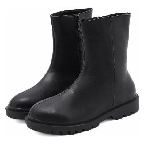 Módní černé holínky kotníkové boty široké bez tkaniček