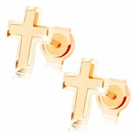 Zlaté náušnice 585 - malý latinský křížek, kombinace lesklého a matného povrchu Šperky eshop