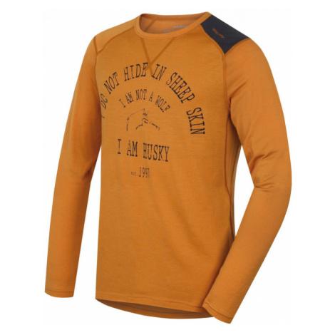 Pánské funkční triko HUSKY Merino 100 dlouhý rukáv WOLF hnědooranžová