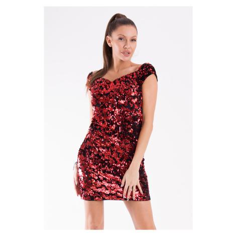 Sexy Flitrové mini šaty s krátkým rukávem a srdíčkovým výstřihem