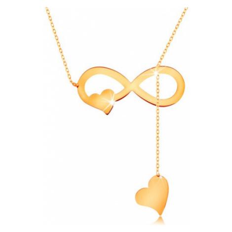 Náhrdelník ve žlutém zlatě 585 - tenký řetízek, plochý symbol nekonečna a srdíčka Šperky eshop