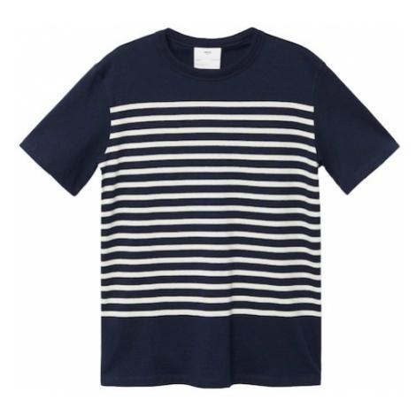 MANGO MAN Tričko 'LEIRIA-H' námořnická modř / bílá