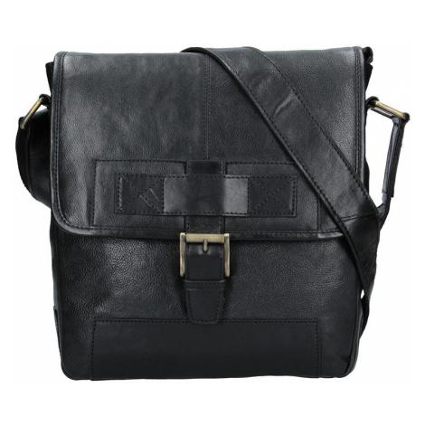 Pánská kožená taška přes rameno Lagen Pascal - černá