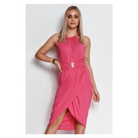 Ružové midi šaty M641