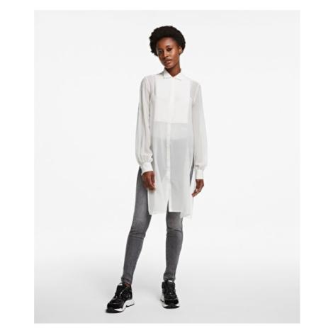 Košile Karl Lagerfeld Long Silk Shirt W/ Plastron - Bílá