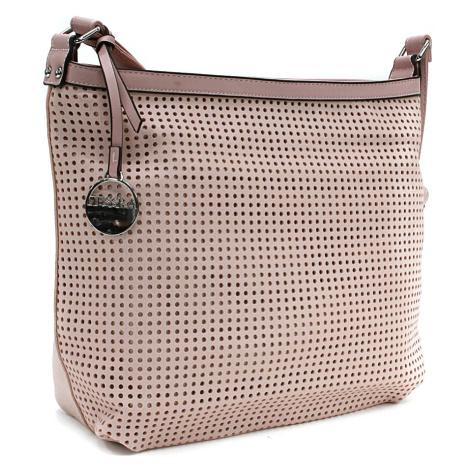 Růžová prostorná dámská kabelka s perforací Ynez Mahel