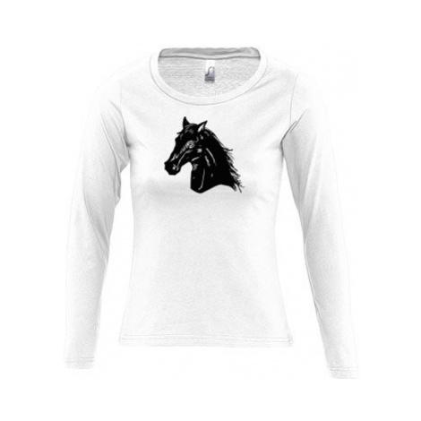 Dámské tričko dlouhý rukáv kulatý výstřih Kůň