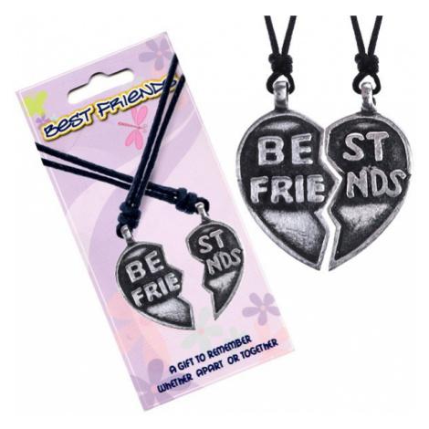"""Náhrdelníky BEST FRIENDS – rozpůlené srdce, text """"Best Friends"""" Šperky eshop"""