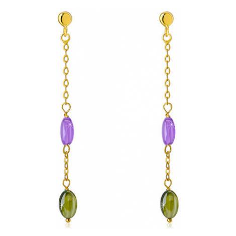 Puzetové náušnice ze 14K zlata - fialový a olivově zelený zirkon, jemný řetízek Šperky eshop