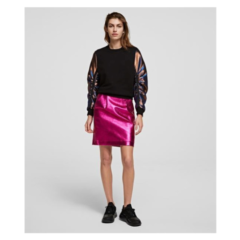 Sukně Karl Lagerfeld Metallic Karl Coated Skirt - Růžová