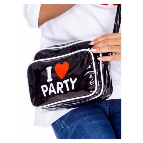 Černá lakovaná kabelka s nápisem ONE SIZE FPrice
