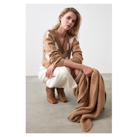 Trendyol Camel Geometric Patterned Knitwear Sweater