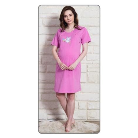 Dámská noční košile mateřská Čáp s čepicí, S, fialová Vienetta Secret