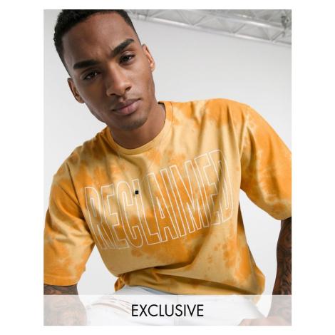 Reclaimed Vintage inspired tie dye logo print t-shirt in orange-Neutral