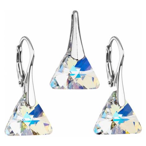 Sada šperků s krystaly Swarovski náušnice a přívěsek ab efekt trojúhelník 39174.2 Victum