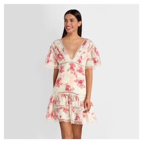 Guess dámské květinové šaty s krajkou
