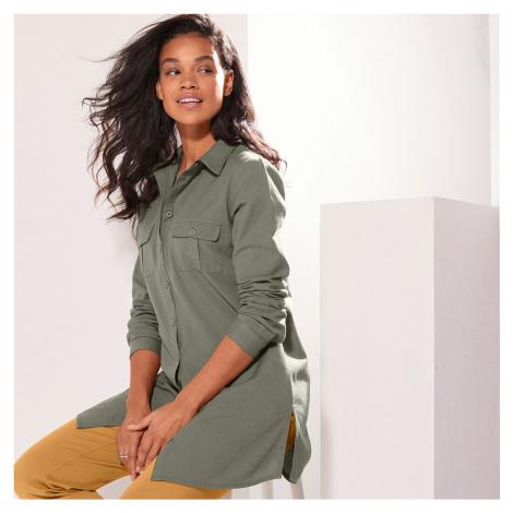 Blancheporte Jednobarevná dlouhá košile khaki