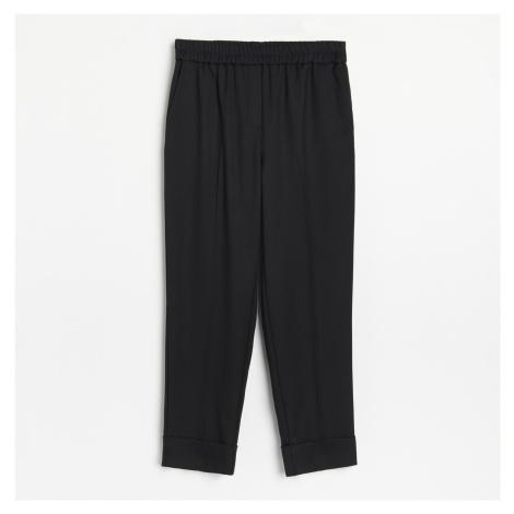 Reserved - Kostýmkové kalhoty s elastickým pasem - Černý