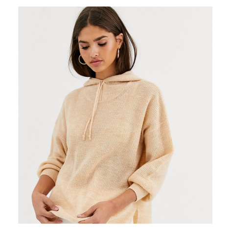 Micha Lounge Luxe knitted hoodie with tie detail in wool blend-Tan