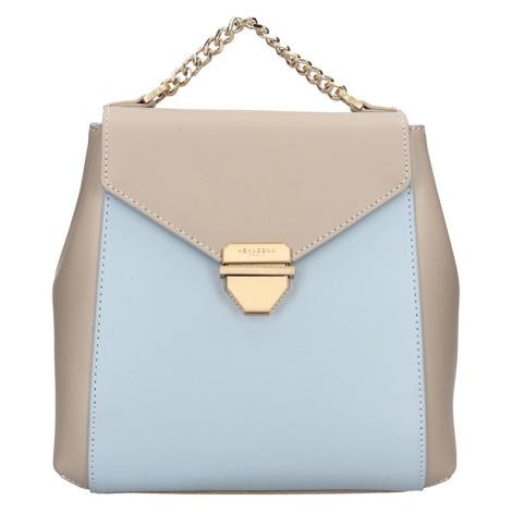 Elegantní dámský kožený batoh Hexagona Reina - béžovo-modrá
