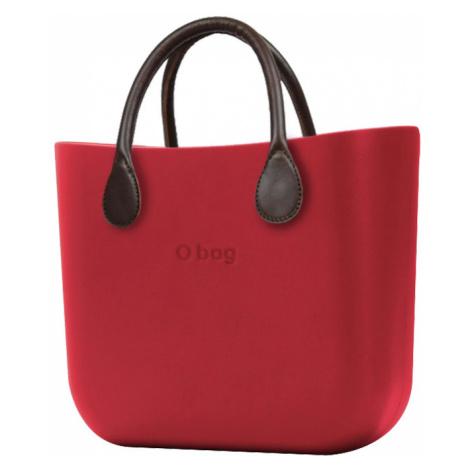 O bag kabelka MINI Rosso s hnědými krátkými koženkovými držadly