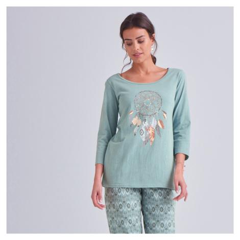 Blancheporte Pyžamo s motivem Lapače snů šedozelená