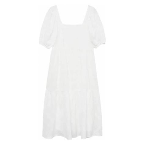 MANGO Šaty bílý melír
