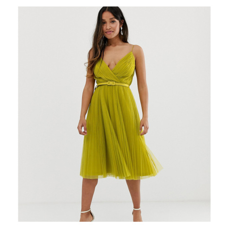 ASOS DESIGN Petite belted pleated tulle cami midi dress-Green