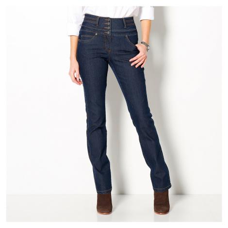 Blancheporte Rovné džíny s vysokým pasem tmavě modrá