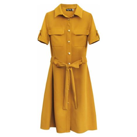 Dámské šaty v hořčicové barvě s knoflíky a páskem (292ART)