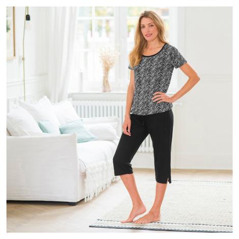 Blancheporte Pyžamo s potiskem, korzárské kalhoty černá/bílá