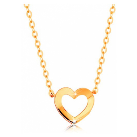 Náhrdelník ze žlutého 14K zlata - tenký řetízek, lesklá kontura srdíčka Šperky eshop